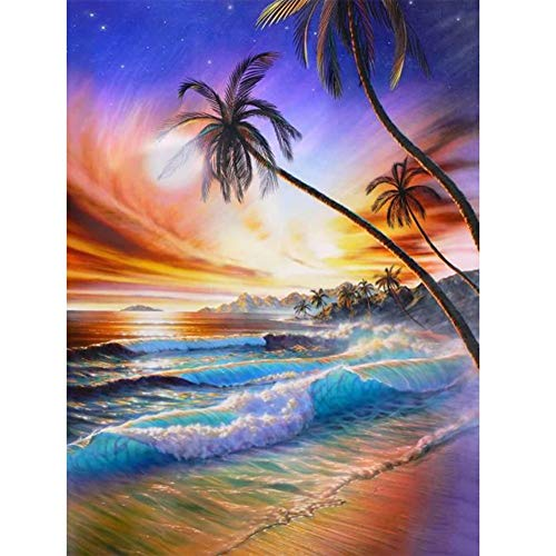 DIY 5D Kit de Pintura de Diamante Surf al atardecer Taladro Completo Diamond Painting Rhinestone Diamante Bordado de Punto de Cruz Artes Craft para Decor de la Pared del Hogar 30x40cm/12x16in T1712