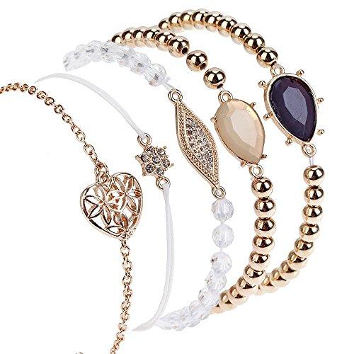 Lujo juego de 5 magnífica oro pulseras con/pulseras con acrílico perlas y piedras en diferentes coloures y colgante/charms brillantes/cristales/gemas de VAGA