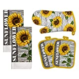 Franco Kitchen Designers Soft and Absorbent Cotton Towels with Pot Holders and Oven Mitt Linen Set, 15' x 25', Sunflower Country