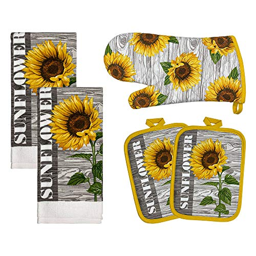 """Franco Kitchen Designers Soft and Absorbent Cotton Towels with Pot Holders and Oven Mitt Linen Set, 15"""" x 25"""", Sunflower Country"""