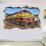 Pegatinas de pared Locomotora de ferrocarril tren pegatinas de pared pegatinas de arte 3D decoración de cartel mural