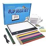 Canvall Flipbook Set para rastrear animaciones, incluye: caja de luz LED, papel de hojas sueltas animadas de 540 páginas, 2 lápices de dibujo de colores HB +12, sacapuntas, borrador y destornillador