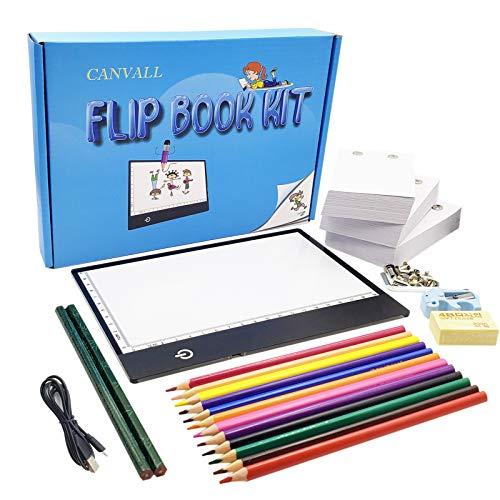 Canvall Flipbook Kit zum Zeichnen und Nachzeichnen, enthalten:A5 LED Light Box, 540 Seiten animiertes Loseblattpapier, 2 HB +12 farbige Zeichenstifte, Bleistiftspitzer, Radiergummi,...
