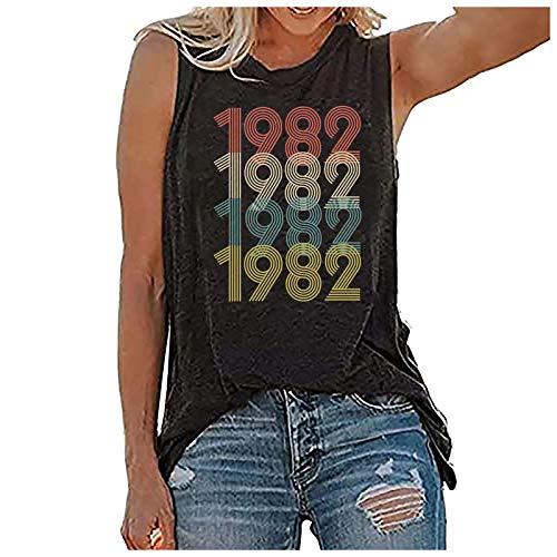 MARIJEE Camiseta de regalo de cumpleaños 39 para mujer Vintage 1982 Camiseta original Parts Tee lindo chaleco sin mangas verano Tops (gris, XXL)