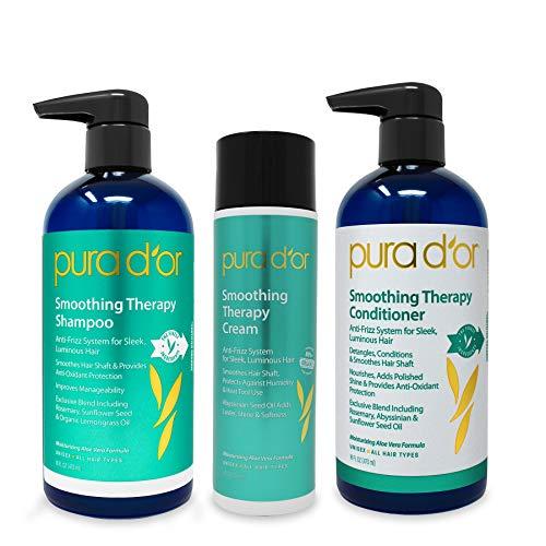 PURA D'OR - Champú acondicionador y crema de peinado para terapia suavizante