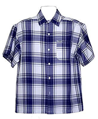 CalTop USA Men's Casual Short Sleeve Button Down Checkered Plaid Shirt