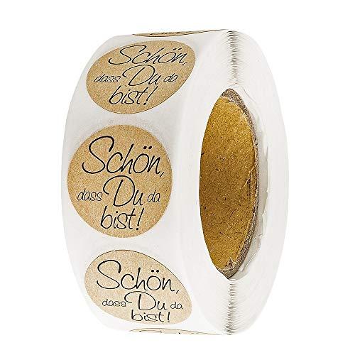Ideen mit Herz Kraftpapier-Sticker   Schön, dass du da bist   Ø 2,5cm   Etiketten-Aufkleber auf Rolle   500 Stück   ideal für Hochzeit, Geburtstag und andere Feste