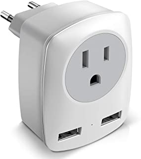 European Adapter, European Plug Adapter, International Power Adapter for Europe, Europe Travel Adapter Type C Plug Adapter with 2 USB Ports, for Germany, France, Italy, Greece, etc (USB Type-A)
