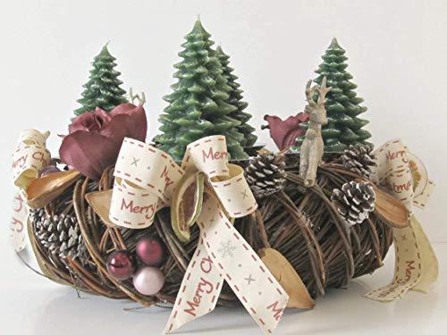 Adventskranz Tanne Goldrot Weihnachten Kranz Gold Advent Zitronen Kugeln Hirsche Schleifen Bänder