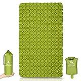 HIKENTURE Isomatte Camping für 2 Personen [Doppel/Ultraleicht] - Aufblasbar Dopplt Luftmatratze Kleines Packmaß mit Pumpsack, Extra Bereit Schlafmatte 115cm für Outdoor Wandern Trekking Strand-Grün
