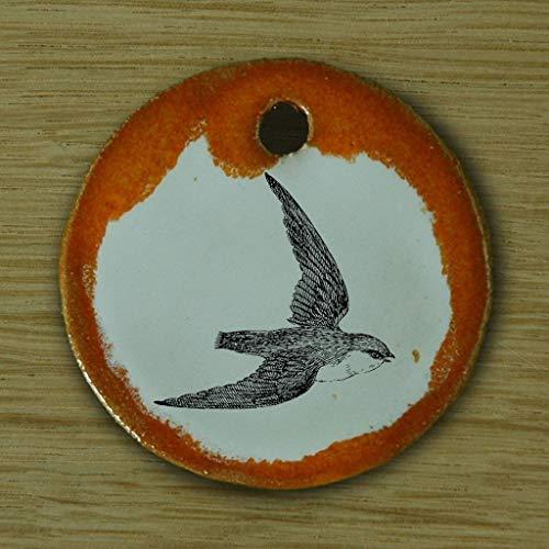 Echtes Kunsthandwerk: Toller Keramik Anhänger mit einer Schwalbe; Garten, Vogel, Terasse, Sperling, Singvogel, Sommer, Mücken