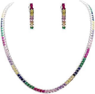 Lavencious Rainbow Cubic Zirconia Princess Cut 4MM Tennis 16 Inch + 2 Inch Extended Lengh Necklace and Earrings for Women Bridal & Party Jewelry Set