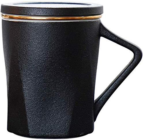 GJJSZ Keramik Kaffeetasse rot schwarz und weiß Keramik Liner Pflege Tee Tasse Geschenk benutzerdefinierte Kaffeetasse kreative Geburtstagsgeschenk(Farbe: schwarz,Größe: 300 ml)