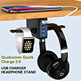 Yostyle Headphone Stand with USB Charger,Under Desk 5 USB Port QC3.0 Quick Charging Station & Headset Hanger and Mount with Cable Organizer,USB-A and QC 3.0 | Gaming, Computer, and PC Accessory