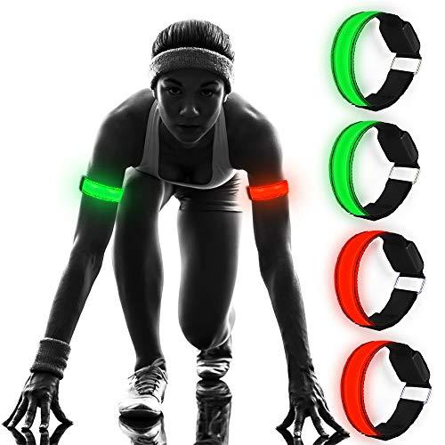 Molbory [4 Stück Led Armband Sport, Leuchtband Reflektorband Reflective Leucht Armbänder, LED Armband Leuchtband für Laufen, Joggen, Radfahren, Hundewandern, Running, Outdoor, Sports Usw.