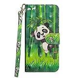 vingarshern Hülle für ZTE Blade V9 Vita Schutzhülle Etui Klappbares Magnetverschluss Lederhülle Flip Hülle Handytasche Blade V9 Vita Hülle Leder Brieftasche Tasche MEHRWEG(Panda)