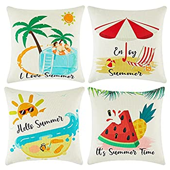 baceight Summer Pillow Covers 18x18 Inch Set of 4 Decorative Linen Hypoallergenic Outdoor Throw Pillow Covers Pattern Square Farmhouse Pillow Covers Cushion Cases for Sofa Couch Bed