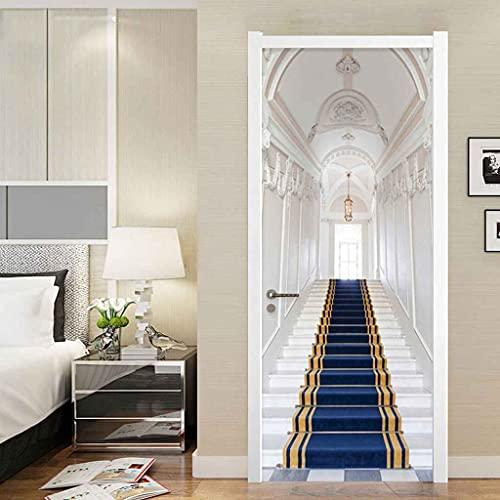 NXCNTD Adhesivo Puerta 3D Escaleras alfombra azul Etiqueta de la Puerta Autoadhesivo Vinilos Murales Carteles Pegatinas de Pared DIY Decoraciones para Puerta Sala de Baño Estar Dormitorio
