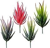 Hinleise Mini piante grasse artificiali di aloe non in vaso, piante grasse finte in plastica realistica per cactus per terrario (4 pezzi)