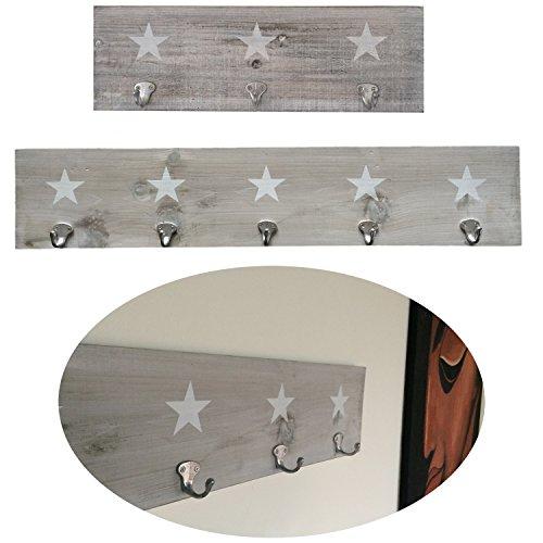 LS-LebenStil Holz Wand-Garderobe 5 Haken Stern 78x16x1,5cm Shabby Grau Weiss