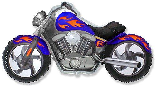 Ballonim® Motorrad Blau / Orange ca. 80cm Luftballons Folienballon Geburtstag Figur deko XXL