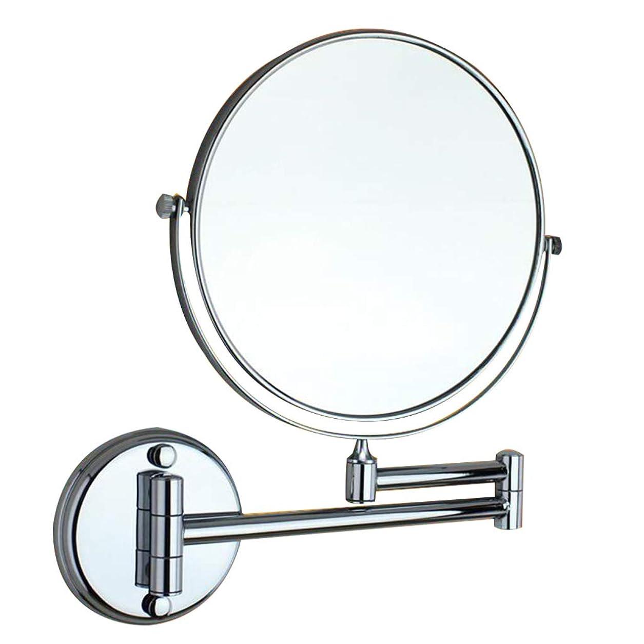 ルアーテラス部族HUYYA シェービングミラー バスルームメイクアップミラー 壁付、バニティミラー 3 倍拡大鏡 化粧鏡 両面 丸め 寝室や浴室に適しています,Silver_8inch