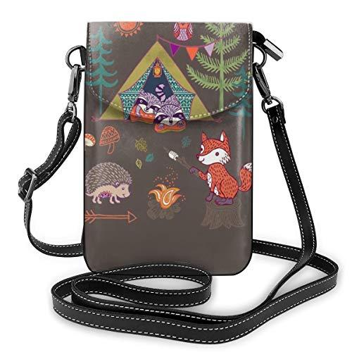 Holz-Igel, Fuchs, Wald, Camp, Leder, Mini-Kreuzkörper, Schultertasche, Handtasche, für Damen, Outdoor-Aktivitäten, Wandern