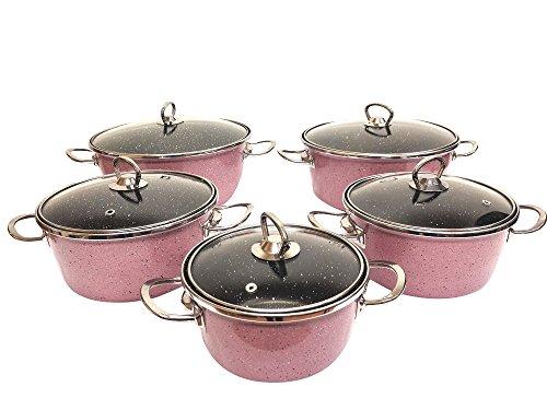 Uniware Super Quality Premium Enamel Cookware Set (6 Pieces Set, Red Rose Pattern)