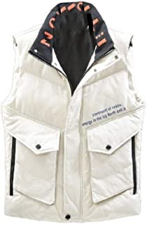 MogogNMen Letter Comfy Thick Flap Pockets Solid Stitching Winter Down Waistcoat