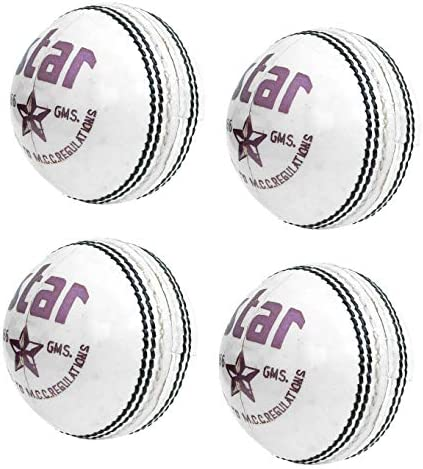 CW Star 4 Cricket Balls Leather Balls White 156g Excellent Quality Genuine Leather product image
