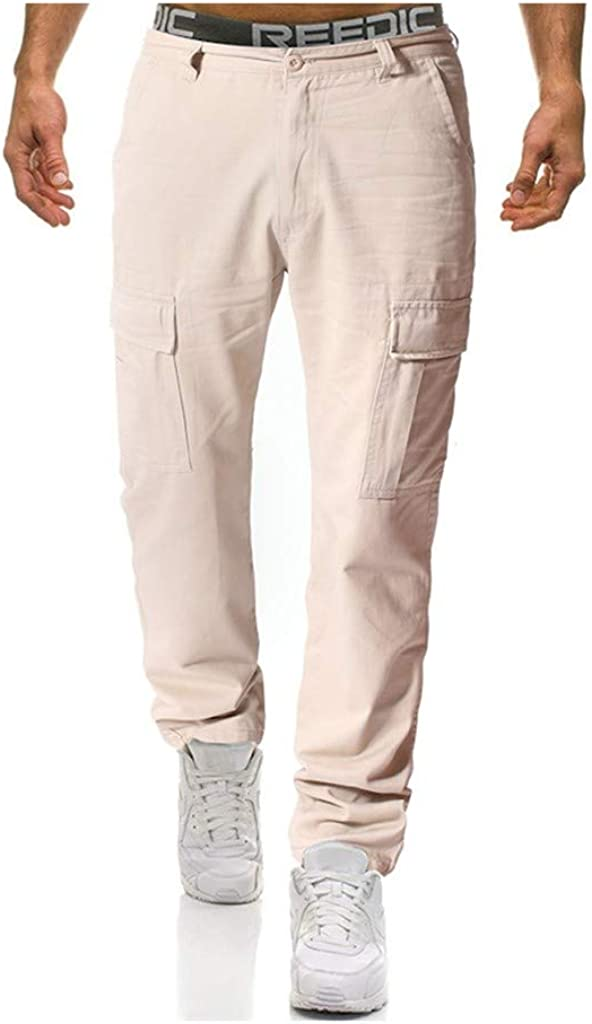 Cargo Pant Forthery Men's Summer Pure Color Relaxed Fit Multi-Pocket Beach Work Trouser Outdoors Cargo Long Pants