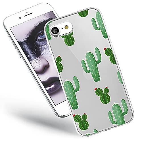 QULT Handyhülle kompatibel mit iPhone SE 2020, iPhone 7 iPhone 8 Hülle Silikon transparent mit Motiv Slim dünn Bumper Schutzhülle Case Kakteen mit Blumen