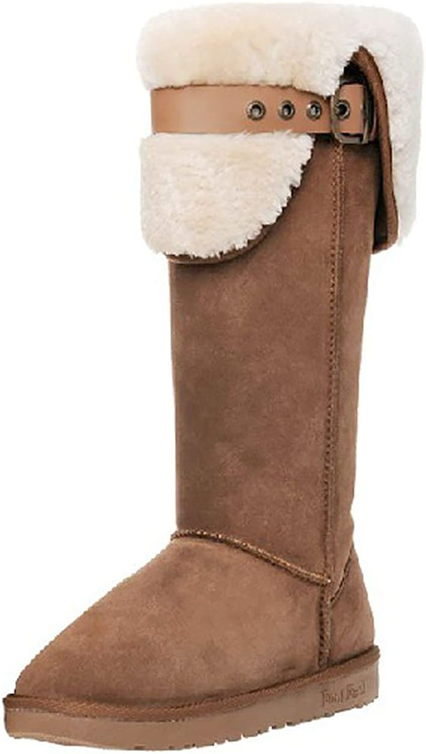 CORK Women's Warm Snow Boots Bow Tall Leather Fur