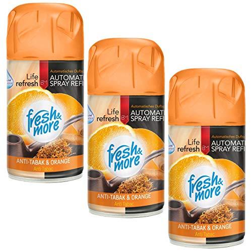 3x Fresh&More Nachfüller Anti Tabak Cedar&Orange Passend Für Freshmatic Max -250ml