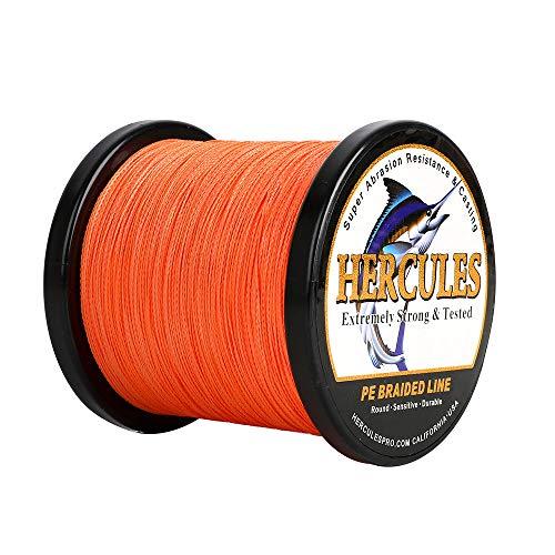 HERCULES Geflochtene Angelschnur 4fach 2000M Dm: 0,16mm Orange 15LB (6,8KG) Tragkraft