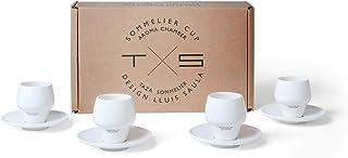 SAULA Premium 4 Tasses Sommelier Expresso et soucoupes. Design breveté