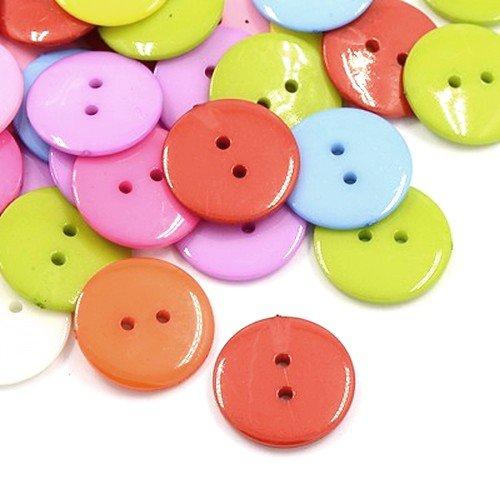 Acrylique Boutons Mixte-Couleur Rond 12mm 2-Trou Paquet De 50+
