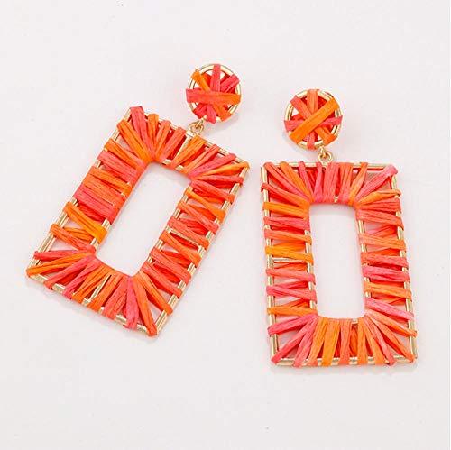 honnhoy Orecchini Fatti a Mano Estivi a Forma di Orecchini da Donna Colorati Geometrici in Rattan Orecchini a Treccia orecchino Gioielli da Spiaggia @ Arancione