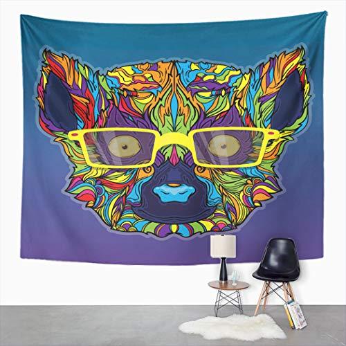 Y·JIANG Tapiz abstracto de animales, cara de lémur, gafas amarillas, degradadas, decoración para el hogar, dormitorio, 152,4 x 127 cm