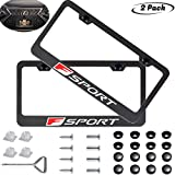 2 Pack F Sport Logo Car License Plate Frame for Lexus,Stainless Steel Auto Plate Frames Frames to Protect Plates,with Screw Caps Cover Set Suit,for All car (F Sport)
