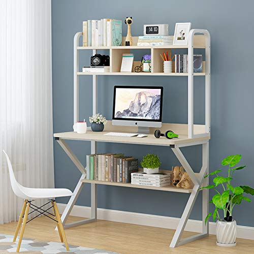 Anmas Power Computer Desk with Shelves,Hutch Desk Bookshelf,Workstation Table,Study,Easy Assembly,Steel,Industrial Design (Maple & White Fame)