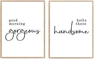 Good Morning Gorgeous Hello There Handsome Print, Set of 2 Bedroom Quote Poster, Inspiration Home Decor Art 8x10 Unframed