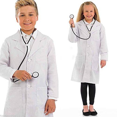 Bata blanca infantil para edades de 10,12,14, 16 y 17años, para niña o niño, para clases de física o química, 100 % algodón blanco 16 años (Tamaño del fabricante : M)