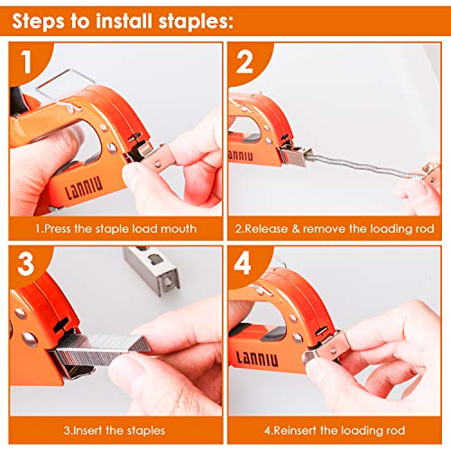 LANNIU Staple Gun, Heavy Duty Staple Gun with Remover, 4 in 1 Staple Gun with 4000 Staples for Upholstery, DIY, Fixing Material, Decoration, Carpentry, Furniture Photo #3