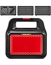 Sandwich Maker 3 in 1 (Waffle Iron, Sandwich Toaster, Contact Barbecue) with 3 Removable Plates, LED Indicator Lights, Portable Handle, Non-Slip Feet, Upright Storage Space, 750 W.