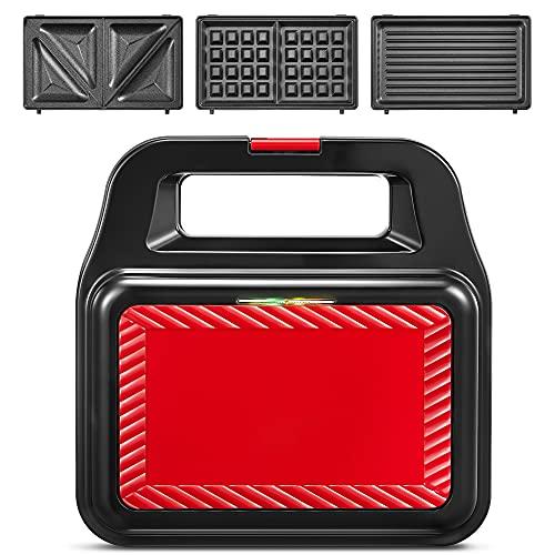 Sandwichmaker 3 in 1, Waffeleisen Tragbarer, 750 W Sandwichtoaster, Kontaktgrill mit 3 Abnehmbare Platten, LED-Anzeigeleuchten, Rutschfeste Füße, aufrechter Stauraum, 750 W