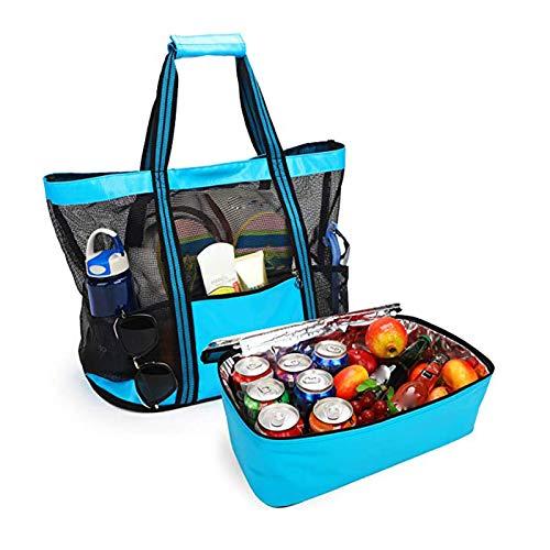 fasloyu Mesh Strandtasche Groß Badetasche Einkaufstasche Picknicktasche mit Wasserdichter Kühlfach, Übergroße Taschen Reißverschluss Schultertasche Handtasche für Strand Urlaub Reise Picknick