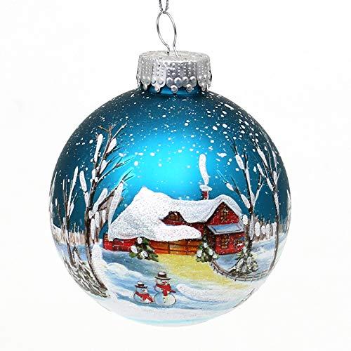 Dekohelden24 Lauschaer Decorazione per Albero di Natale – Palla di Natale in Vetro soffiato e Decorato a Mano, Ø 8 cm, Colore a Scelta Tramite Menu a Discesa. Blu Scuro