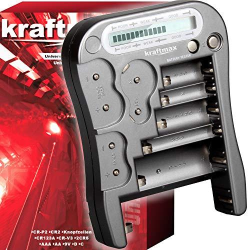 kraftmax Batterietester V2 Professional - Universal Batterie und Akku Testgerät mit LCD Display und Knopfzellen Test - NEUSTE Version