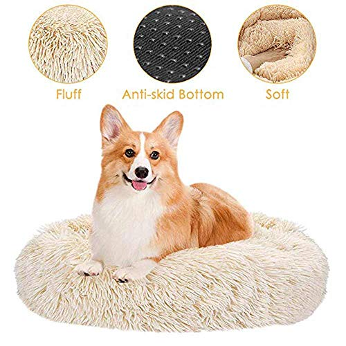 JBZP Donut Dog Beds for Large Dogs Cozy Style Giant Pet Bed for Pet Plush Bed Round, Dog Cat Calming Bed - Orthopedic, Washable, Self-Warming and Improved Sleep Best Friend for Dogs and Cats